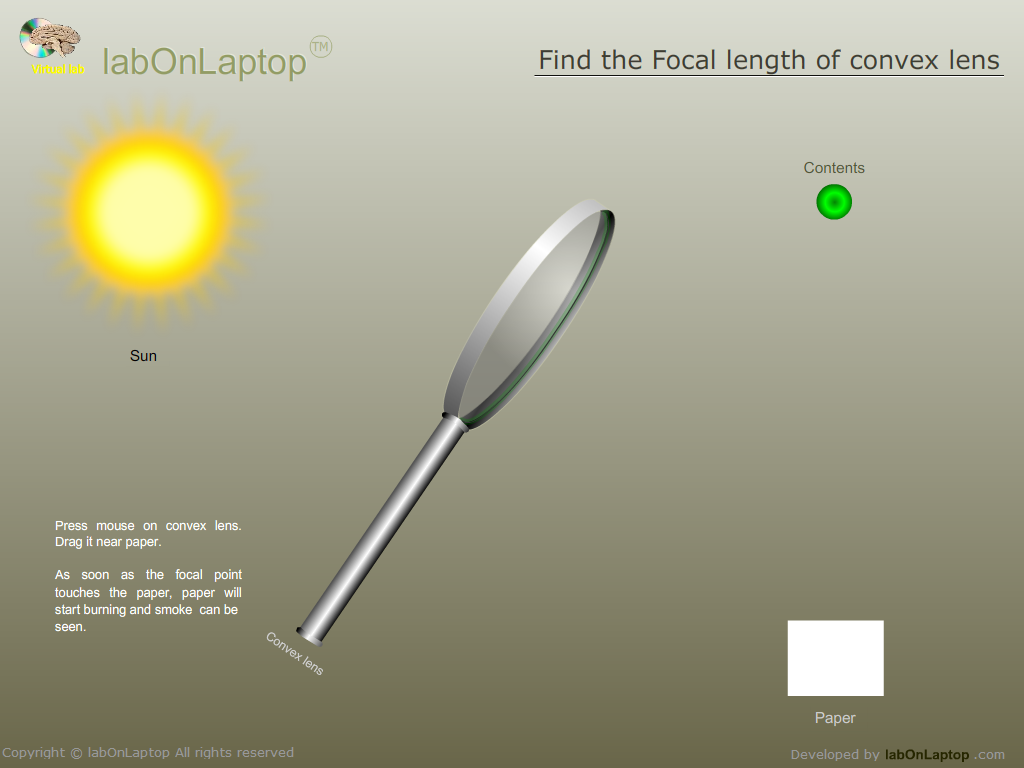 the focal length of a convex